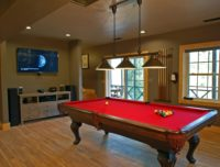 Our game room in the lake house featuring a pool table, 55