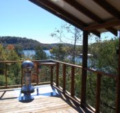 Lake view from the screened porch of one of our cabins.