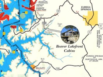 Overview map of Beaver Lake showing the location of Beaver Lakefront Cabins relative to the dam and Corp of Engineers parks and marinas.
