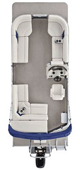 An overview layout of our comfort rich pontoon boat featuring amble plush bench seating and storage.