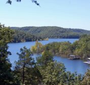 The tree-lined view of Beaver Lake on a summer day from one of our upper cabins.