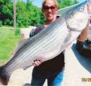 A large striper caught by one of our guests on a guided tour with Gene.